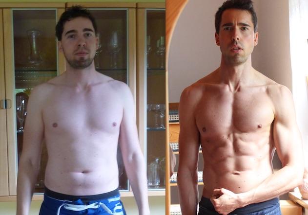 Tobias Rees: Vorher-Nachher-Bild von meinem Bruder Andreas nach nur 7 Wochen.