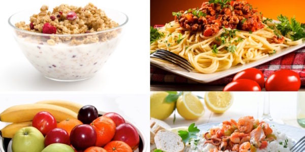 Anabole Diät Ernährungsplan: Foto von Essen an Refeed-Tagen wie Müsli, Spaghetti Bolognese, Obst und Reis mit Fisch oder Fleisch.