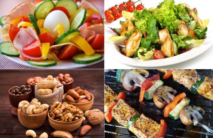 Anabole Diät Ernährungsplan: Foto von eiweissreichem Essen wie Ei, Salat, Nüsse und Fleisch am Spieß mit Gemüse.