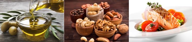 Ernährungsplan zum Muskelaufbau für Hardgainer: Foto von den Nahrungsmitteln Olivenöl, verschiedene Nusssorten und gebratener Lachs mit Gemüse.