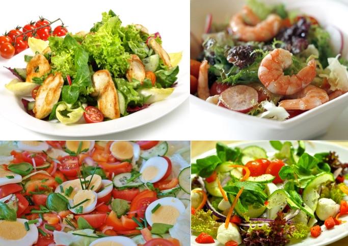 Bauchmuskeln trainieren: Foto von vier Salaten mit Putenstreifen, Garnelen, Eier und Mozzarella.