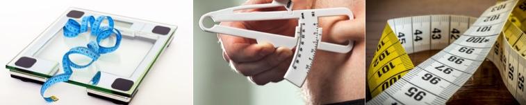 Körperfettanteil berechnen: Foto von einer Körperfettmessung mit einer Körperfettwaage, Körperfettzange und einem Bandmass.