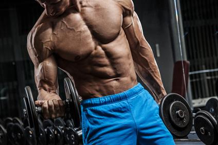 Muskelaufbau Tipps: Foto eines muskulösen Mannes beim Bizeps Training mit Kurzhanteln.