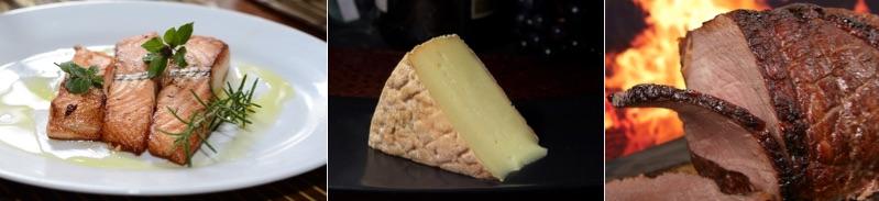 Lebensmittel ohne Kohlenhydrate: Foto von eiweißreichen Lebensmitteln wie Fische, Käse und Fleisch.