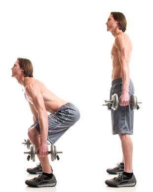Muskelaufbau Tipps: Foto von der Anfangs- und Endposition bei der Fitness-Übung Kniebeuge mit Kurzhanteln.