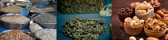 basenbildende Lebensmittel: Foto von drei basischen Lebensmitteln wie gründer Tee, Nüsse und Saaten