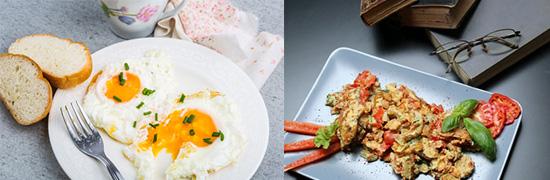 Eierdiät: Foto von Eiern in den Zubereitungsarten Rührei und Spiegelei