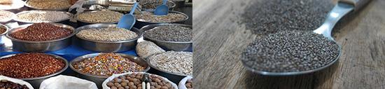 Eiweißtabelle: Foto von zwei eiweissreichen Lebensmitteln wie Chiasamen und Nüssen