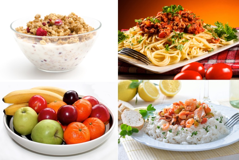 Ektomorph: Foto von Essen mit vielen Kohlenhydraten wie Müsli, Spaghetti Bolognese, Obst und Reis mit Fisch oder Fleisch.
