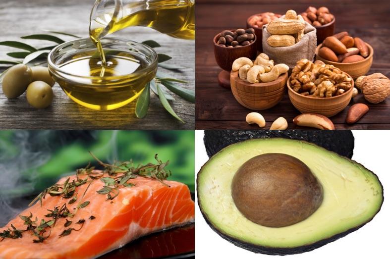 Ernährungsplan Muskelaufbau: Foto von Lebensmitteln mit viel guten Fetten wie Olivenöl, Nüsse, Lachs und Avocado.