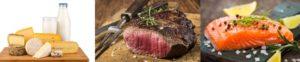 Lebensmittel ohne Kohlenhydrate: Foto von kohlenhydratarmen Lebensmitteln wie magere Milchprodukte, mageres Fleisch und Lachs.
