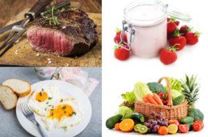 Lebensmittel ohne Kohlenhydrate: Foto von kohlenhydratarmen Lebensmitteln wie mageres Fleisch, Eier, Gemüse, Obst und Milchprodukte.
