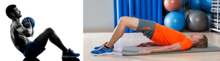 Bauchmuskeln trainieren: Foto von von zwei Übungen zum Training des Sixpack wie Sit-Ups und Beckenheber.