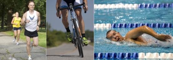 Bauchspeck loswerden: Foto von drei Ausdauersportarten wie Radfahren, schwimmen und laufen
