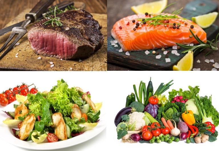 Ernährungsplan Muskelaufbau: Foto von vier gesunden Lebensmitteln wie mageres Fleisch, Fisch, Gemüse und Obst