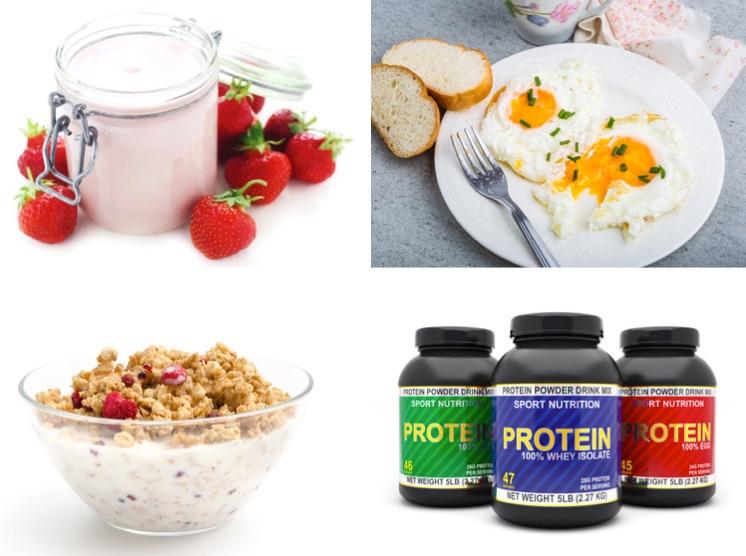 Frühstück ohne Kohlenhydrate: Foto von eiweißreichem Frühstück wie Magerquark mit Erbeeren, Eier und Müsli mt Milch und Proteinpulver.