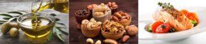 ketogene Diät Ernährungsplan: Foto von drei Paleo Lebensmitteln wie Öl, Nüsse und Fisch