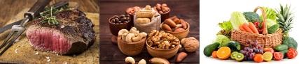 täglicher Kalorienbedarf: Foto von 3 Nahrungsmittelgruppen wie Fette, Eiweiß und Kohlenhydraten