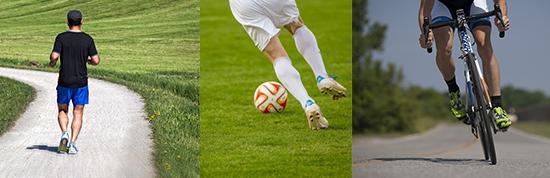 viszerales Fett: Foto von drei Ausdauersportarten wie Radfahren, Joggen und Fußball