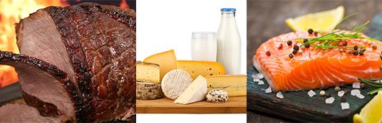 viszerales Fett: Foto von drei Low-Carb Lebensmitteln wie Fleisch, Milchprodukten und Fisch