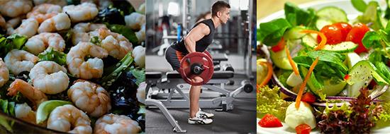 Anabole Diät Ernährungsplan: Foto von Meeresfrüchten, Salat und einem Mann beim Langhanteltraining