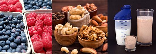 Ektomorph: Foto von drei Nahrungsmitteln für Ektomorphe wie Beeren, Nüsse und Proteinshakes