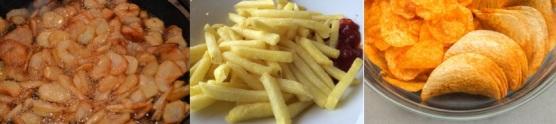 Lebensmittel ohne Kohlenhydrate: Foto von kohlenhydratreichen Lebensmitteln wie Pommes, Chips und Bratkartoffeln