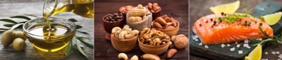 Lebensmittel ohne Kohlenhydrate: Foto von drei kohlenhydratfreien Lebensmitteln wie Fett, Nüsse und Fisch