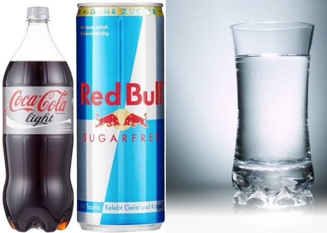 Abnehmtricks: Foto von den Light-Getränken Cola-Light, Redbull Sugarfree und Wasser.