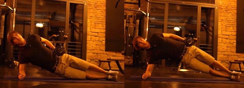 Bauchmuskeltraining: Foto von einer Bauch-Übung für die seitlichen Bauchmuskeln.
