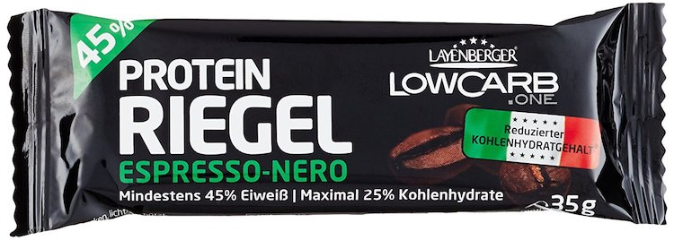 Eiweißprodukte: Foto einem Eiweissriegel von Layenberger mit Espresso Geschmack.