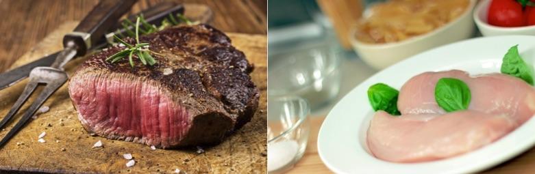 Eiweißprodukte: Foto von gebratenem roten Fleisch und rohem weißen Fleisch.