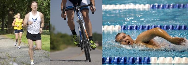 Körperfettanteil senken: Foto von einem Mann beim joggen, Rad fahren und schwimmen.