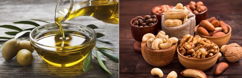 Kohlenhydratfreie Lebensmittel: Foto von Öl der Sorte Olivenöl und verschiedene Nüsse und Kerne.