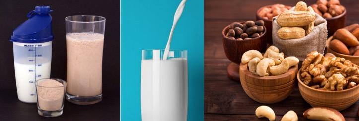 Kohlenhydratfreies Abendessen: Foto von Eiweisspulver, einem Glas Milch und Nüssen.