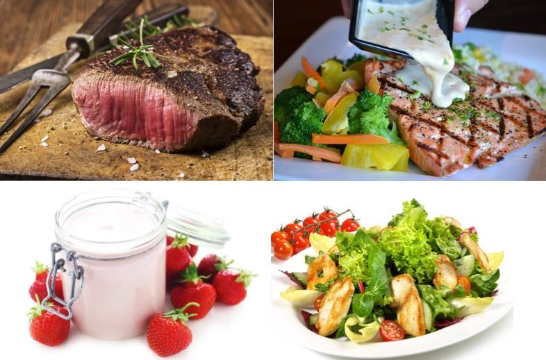 Kohlenhydratfreies Abendessen: Foto von Lebensmitteln mit viel Eiweiss wie fettarmes Fleisch, Fisch, Quark und Salat mit Putenstreifen.