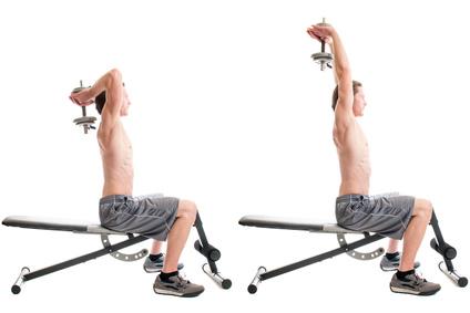Krafttraining mit Kurzhanteln: Foto von einem Mann Bei der Trizeps-Übung Trizepsdrücken über Kopf.