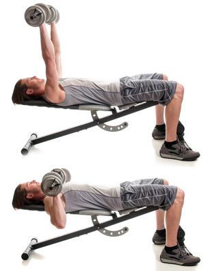 Kurzhantel Übungen: Foto von einem Mann bei der Brust-Übung Bankdrücken.
