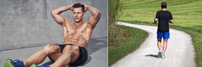 Negative Energiebilanz: Foto von einem Mann beim Bauchtraining und beim Joggen.