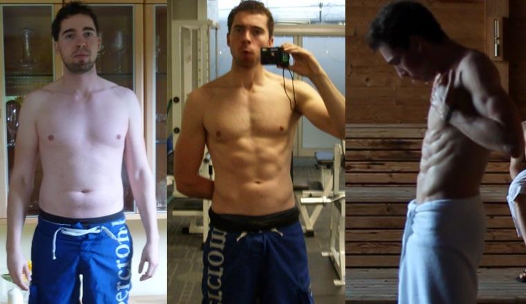 Seitliche Bauchmuskeln: Foto von drei Vorher-Nachher-Bildern von Andreas Rees vom Bierbauch zum Sixpack.