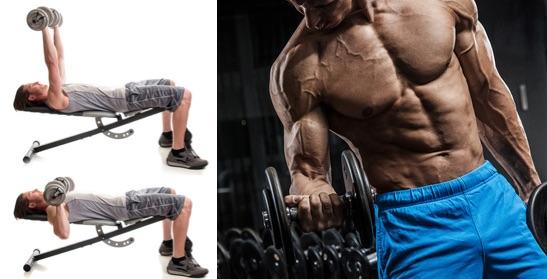 Supersatz: Fpto von einem Mann bei den Fitness-Übungen Bankdrücken mit Kurzhanteln und Bizepscurls.