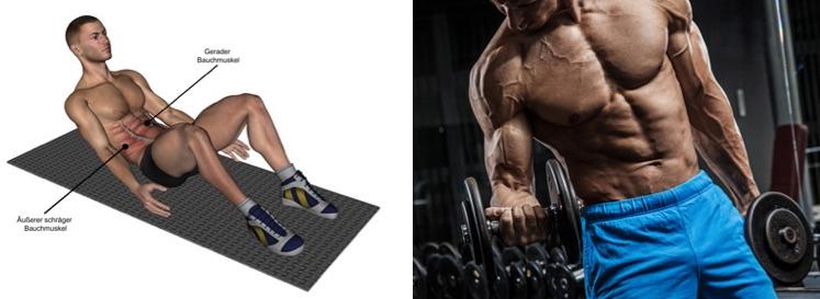 Wie bekomme ich ein Sixpack: Foto von einem Mann beim Training der Bauchmuskeln und des Bizeps.