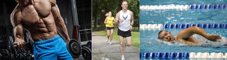 5 Kilo abnehmen ohne Diät: Foto von einem Mann beim Krafttraining, Joggen und Schwimmen.