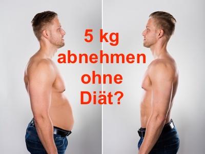 5 kg abnehmen ohne Diät: Foto von einem Mann mit dickem Bauch vorher und dünnem Bauch nachher.