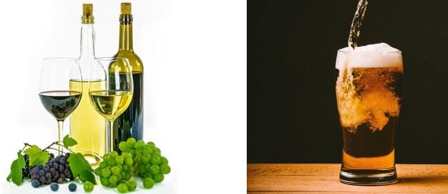 Abnehmen Tipps und Tricks: Foto von Wein und Bier mit Alkohol.