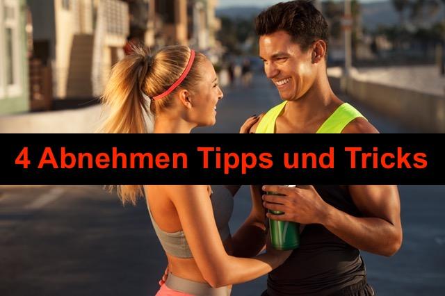 Abnehmen Tipps und Tricks: Foto von einem Mann und einer Frau mit Spaß in Jogging Kleidung.