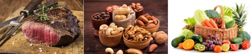 Abnehmtipps und Abnehmtricks: Foto von Lebensmitteln mit viel Eiweiß (Fleisch und Gemüse) und gesunde Fett (Nüsse).
