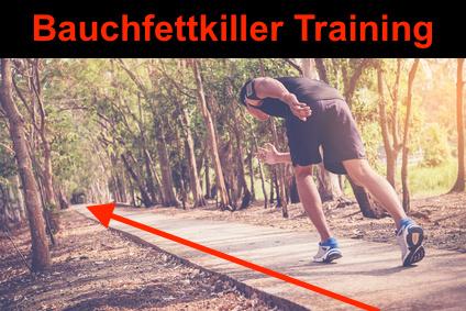 Foto von einem Mann beim Bauchfettkiller Training Bergsprints.
