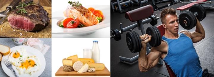Eiweißhaltige Ernährung: Foto von Lebensmitteln wie Fleisch, Fisch, Eier und Milchprodukten und einem Mann beim Krafttraining.