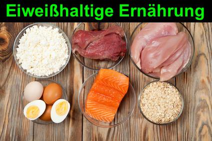 Eiweißhaltige Ernährung: Foto von Nahrungsmitteln wie Fisch, Käse, Eier, und Fleisch.